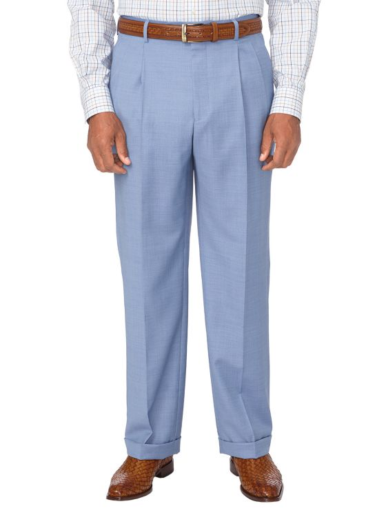 Tailored Fit Super 120's Sharkskin Pleated Suit Pant