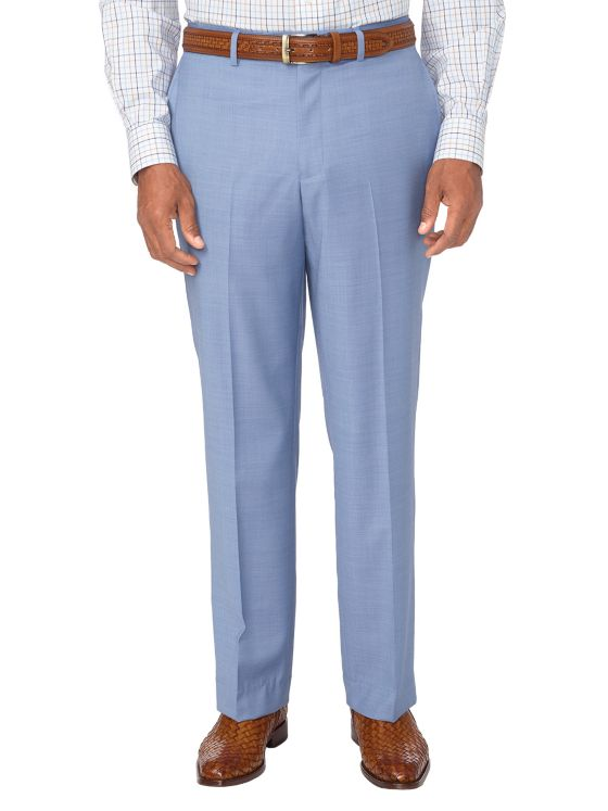 Tailored Fit Super 120's Sharkskin Flat Front Suit Pant