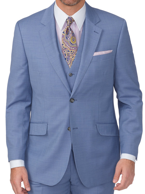 Tailored Fit Sharkskin Single Breasted Notch Lapel Suit Jacket