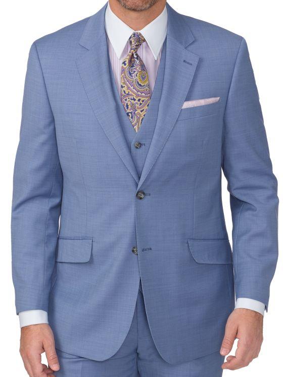 Tailored Fit Super 120's Sharkskin Notch Lapel Suit Jacket