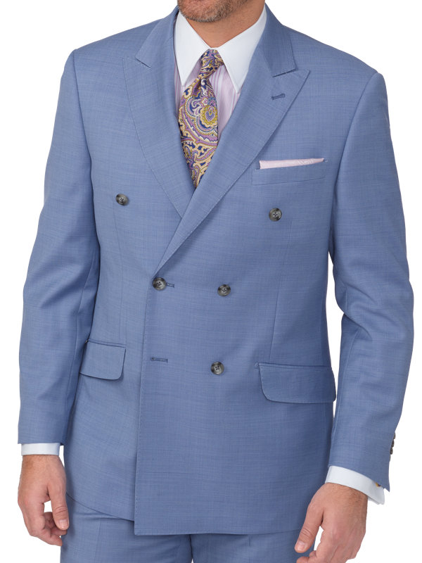 Tailored Fit Sharkskin Double Breasted Peak Lapel Suit Jacket