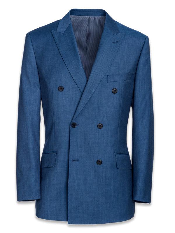 Tailored Fit Sharkskin Double Breasted Peak Lapel Suit Jacket
