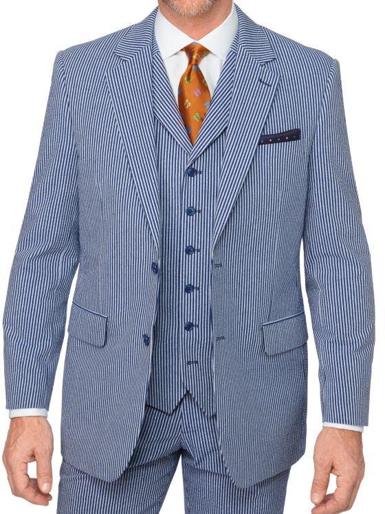 Cotton Seersucker Stripe Notch Lapel Suit Jacket