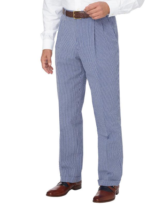 Cotton Seersucker Stripe Pleated Suit Pant