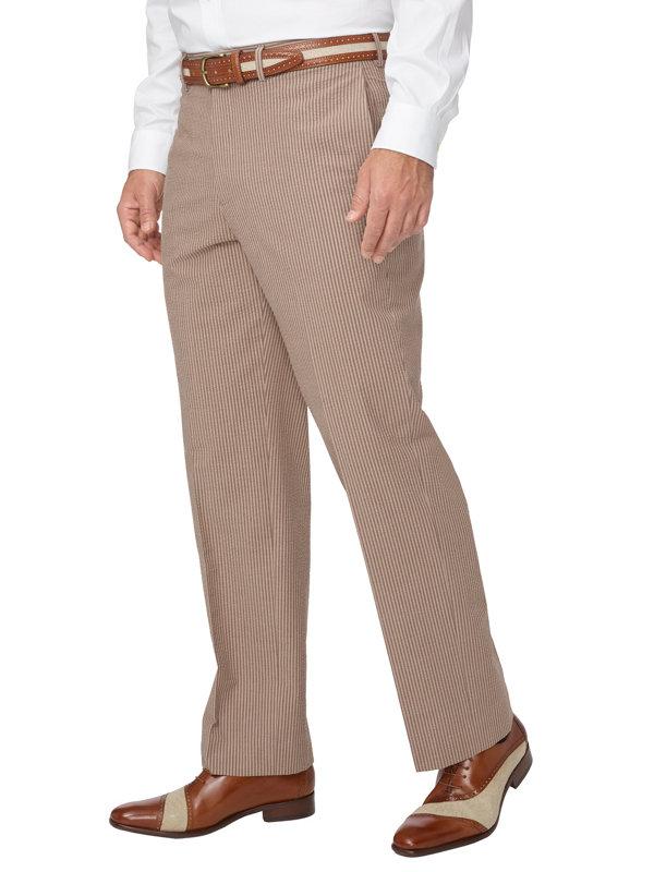Classic Fit Cotton Seersucker Flat Front Suit Pant