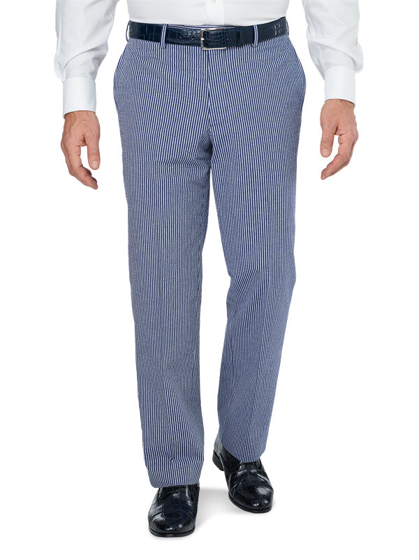 Cotton Seersucker Stripe Flat Front Suit Pant