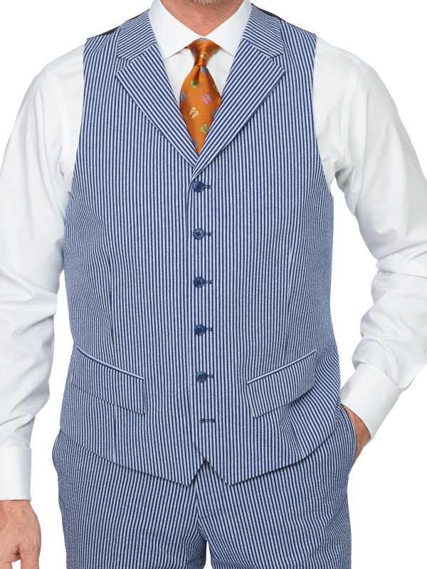 Cotton Seersucker Suit Vest