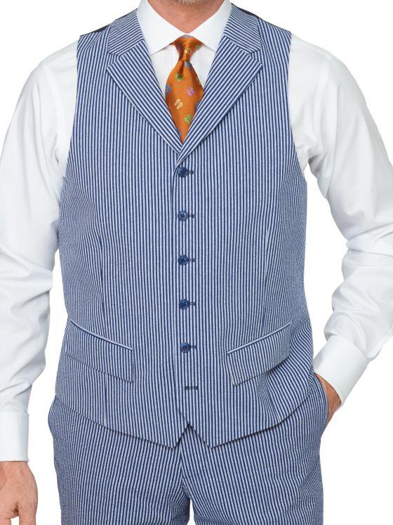 Cotton Seersucker Stripe Suit Vest