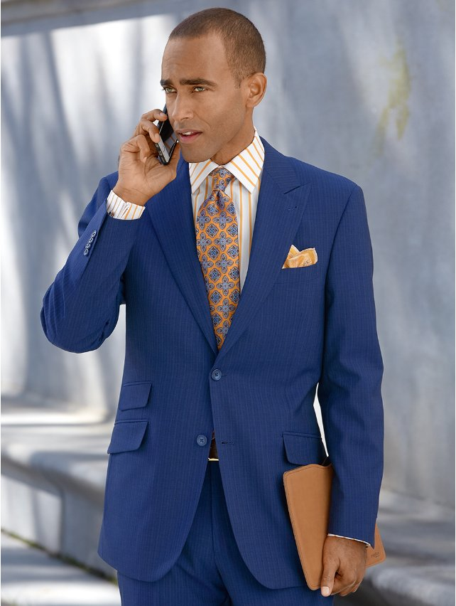 Super 100's Wool Stripe Suit Jacket