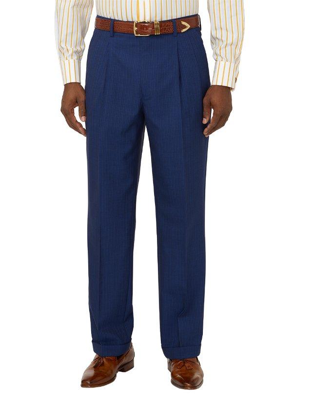 Super 100's Wool Stripe Pleated Suit Pants