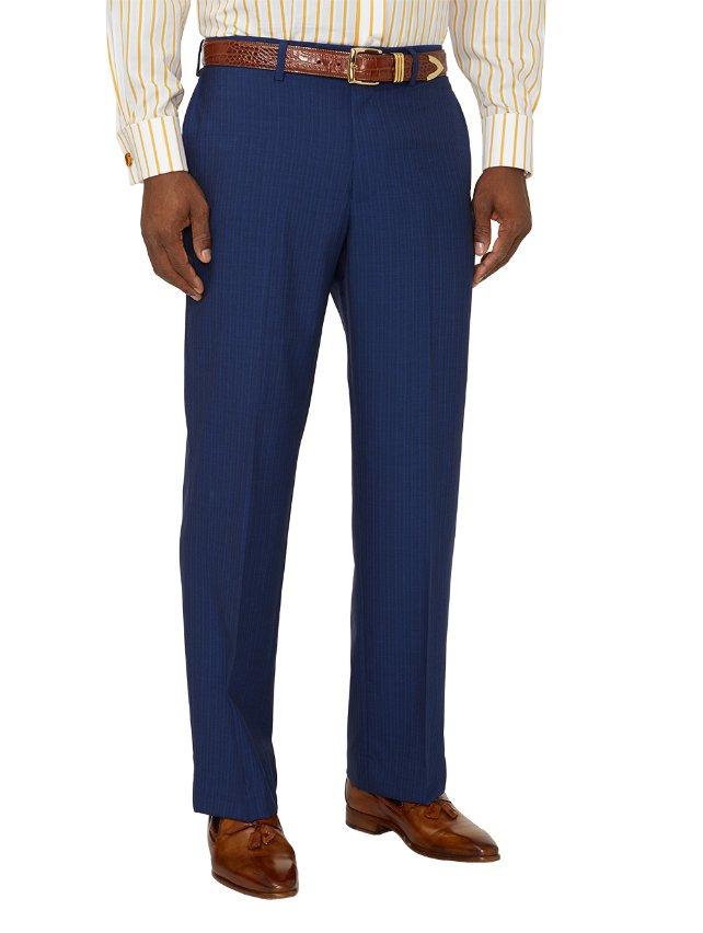 Super 100's Wool Stripe Flat Front Suit Pants