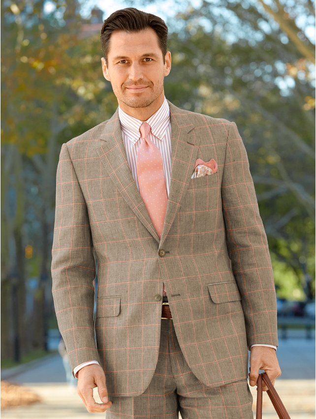 Linen Windowpane Suit Jacket