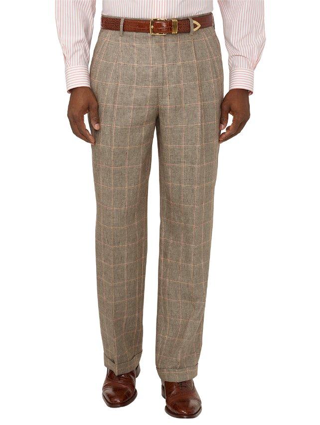 Linen Windowpane Pleated Suit Pants