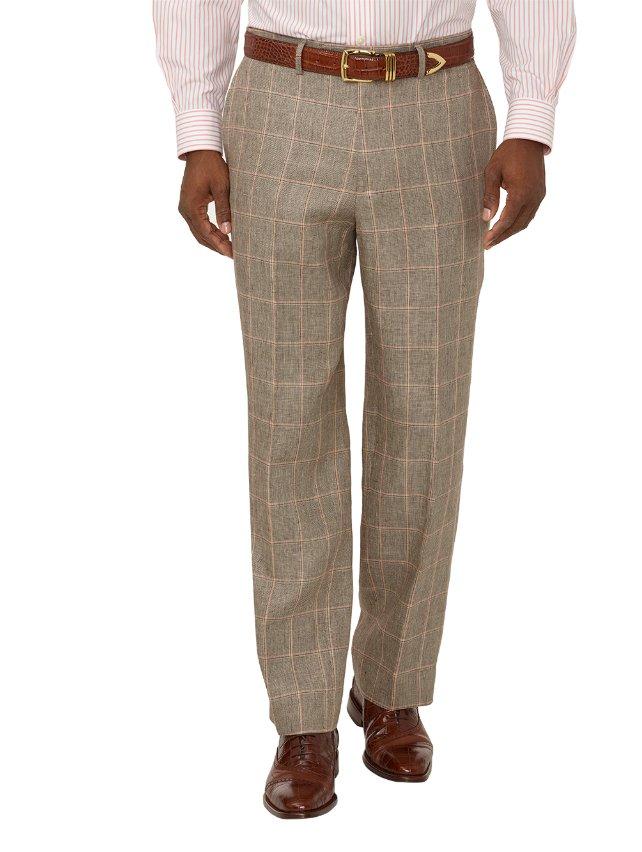 Linen Windowpane Flat Front Suit Pants