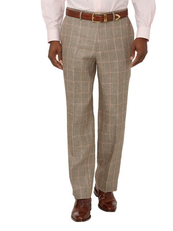 Linen Windowpane Flat Front Suit Pants