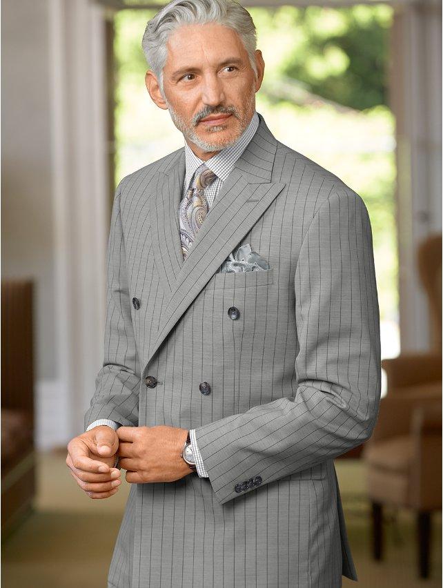 Wool Stripe Suit Jacket