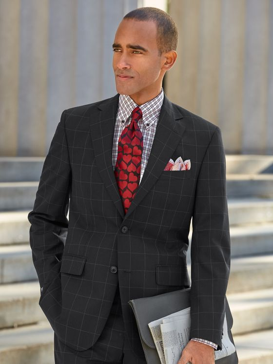 Super 120's Wool Windowpane Suit Jacket