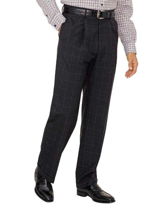 Super 120's Wool Windowpane Pleated Suit Pants