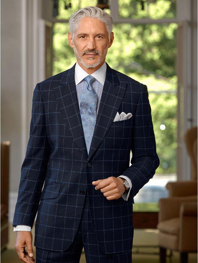 Italian Wool Windowpane Suit Jacket