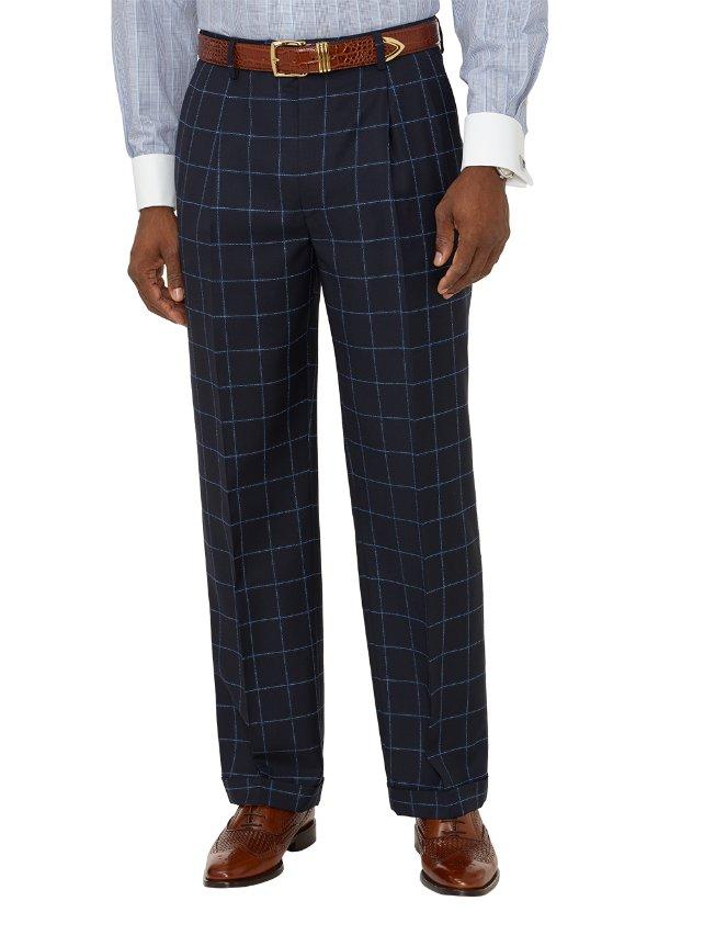Italian Wool Windowpane Pleated Suit Pants