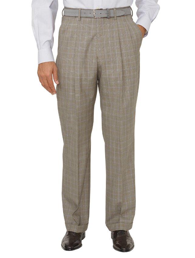 Wool Glen Plaid Pleated Suit Pants