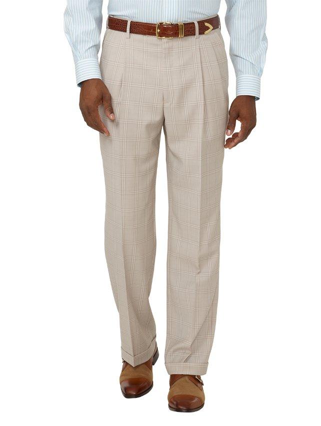 Super 100's Wool Windowpane Pleated Suit Pants