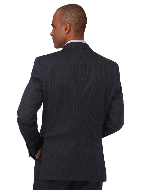 Wool & Silk Stripe Double Breasted Peak Lapel Suit Jacket