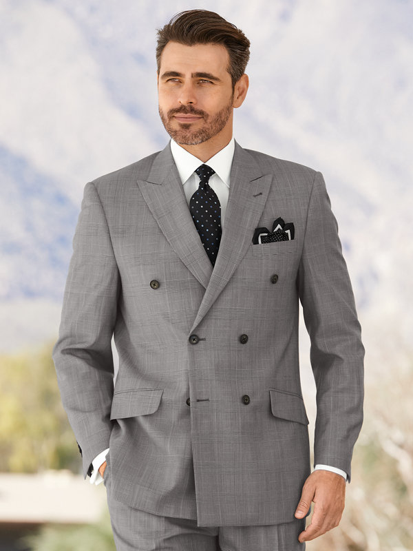 Wool & Silk Glen Plaid Suit Jacket