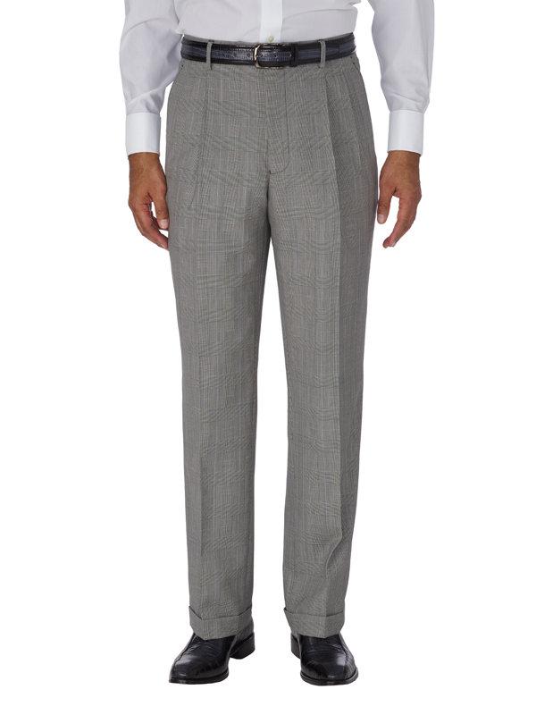 Wool & Silk Glen Plaid Pleated Suit Pant