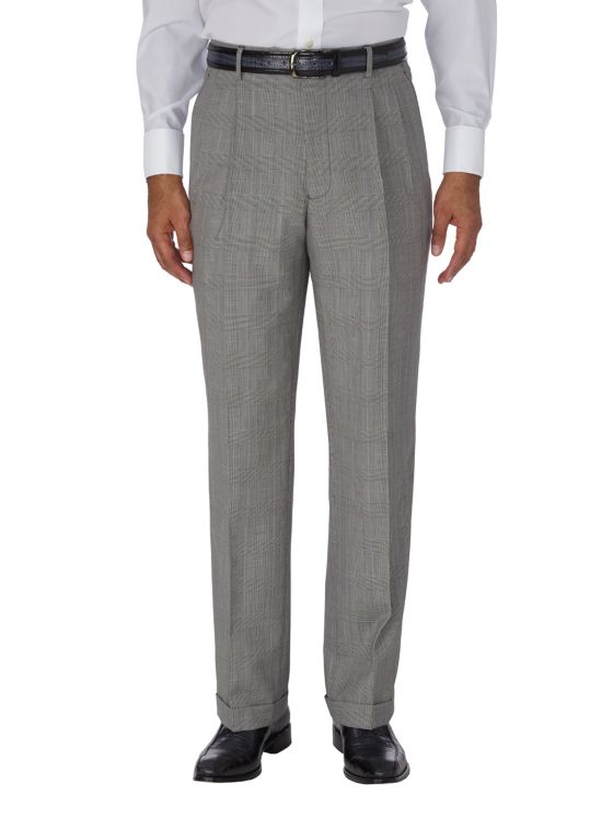 Wool & Silk Glen Plaid Pleated Suit Pant