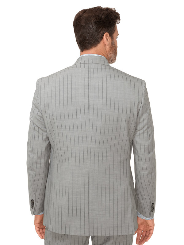 Wool Stripe Double Breasted Peak Lapel Suit Jacket