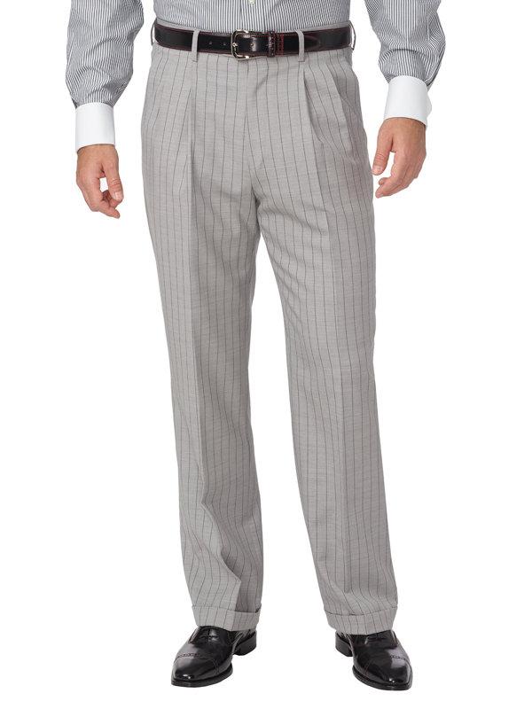 Wool Stripe Pleated Suit Pant
