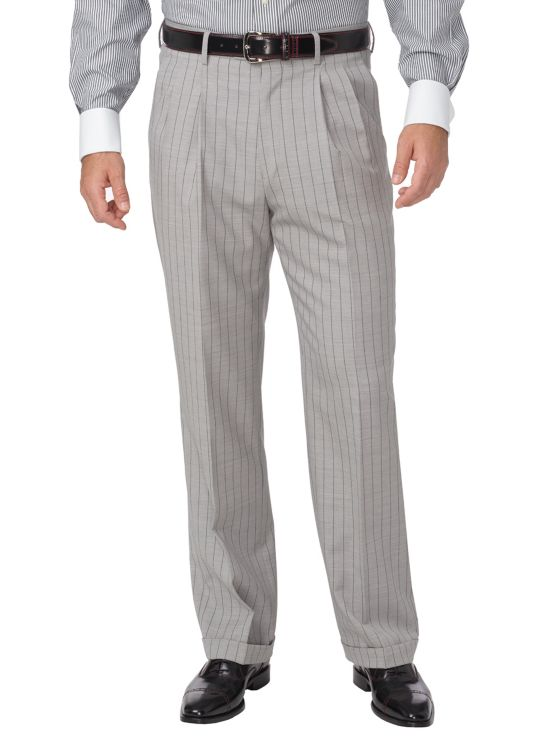 Wool Stripe Pleated Suit Pant