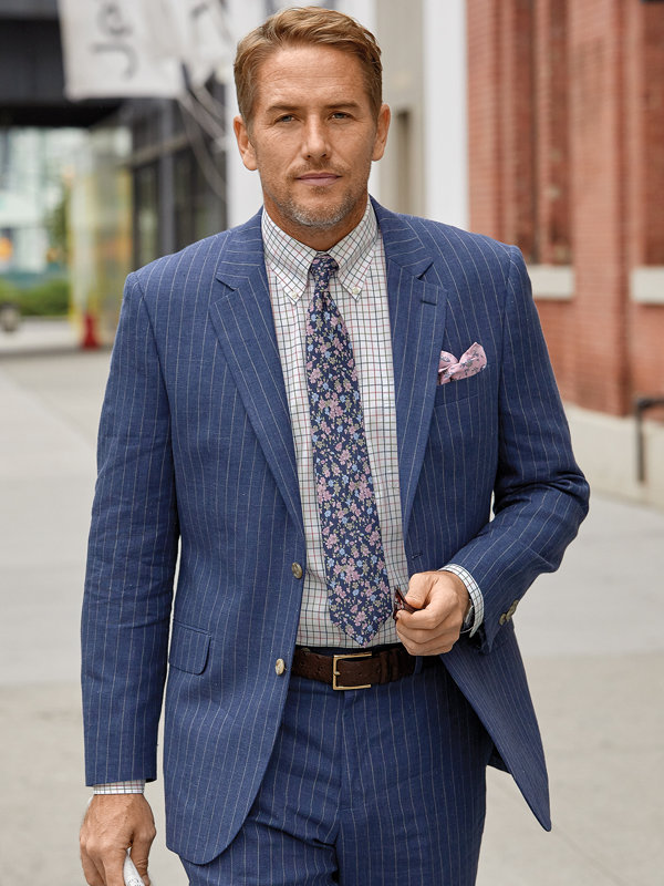 Linen Stripe Notch Lapel Suit Jacket