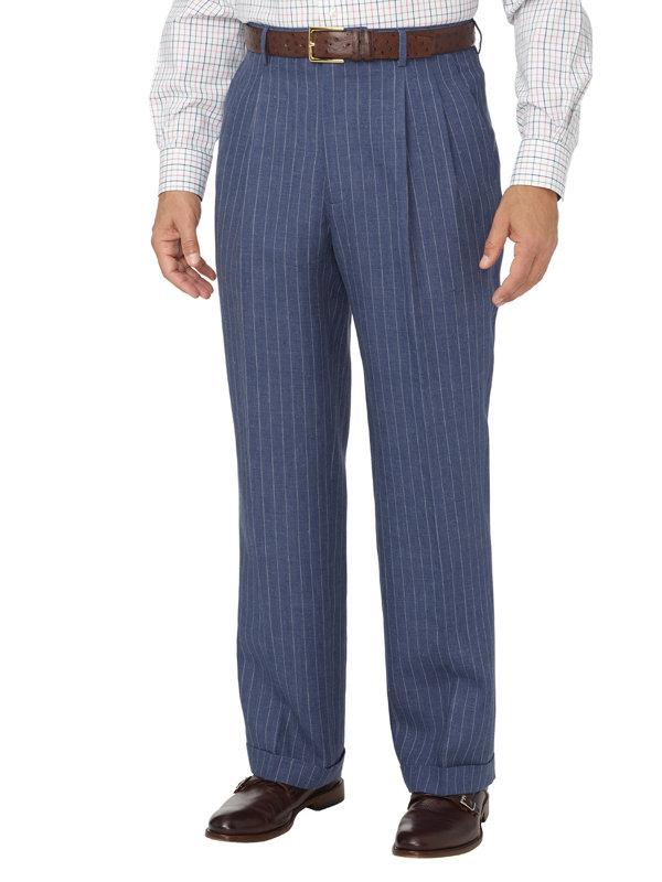 Linen Stripe Pleated Suit Pant