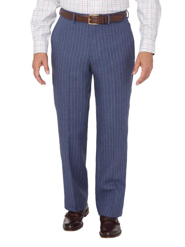 Linen Stripe Flat Front Suit Pant