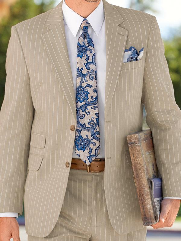 Cotton Stripe Notch Lapel Suit Jacket