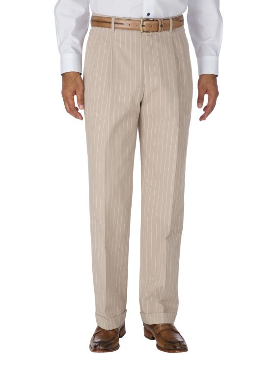 Cotton Stripe Pleated Suit Separate Pant