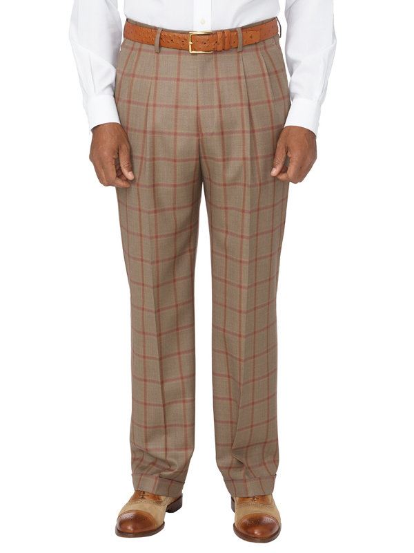 Wool Tonal Windowpane Pleated Suit Pant