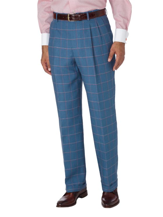 Linen Windowpane Pleated Suit Separate Pant