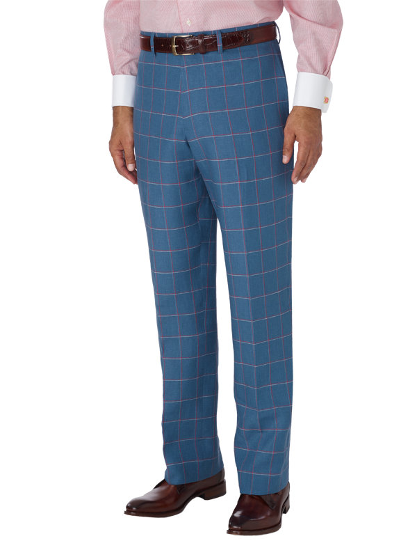Linen Windowpane Flat Front Suit Separate Pant