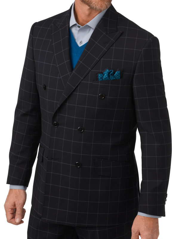 Tailored Fit Italian Windowpane Double Breasted Suit Jacket