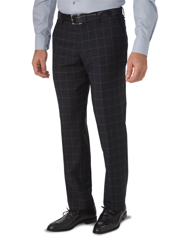 Tailored Fit Italian Wool Windowpane Flat Front Suit Pant