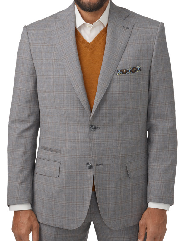 Tailored Fit Italian Wool Plaid Notch Lapel Suit Jacket