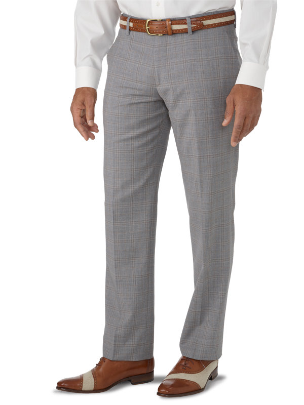 Tailored Fit Italian Wool Plaid Flat Front Suit Pant