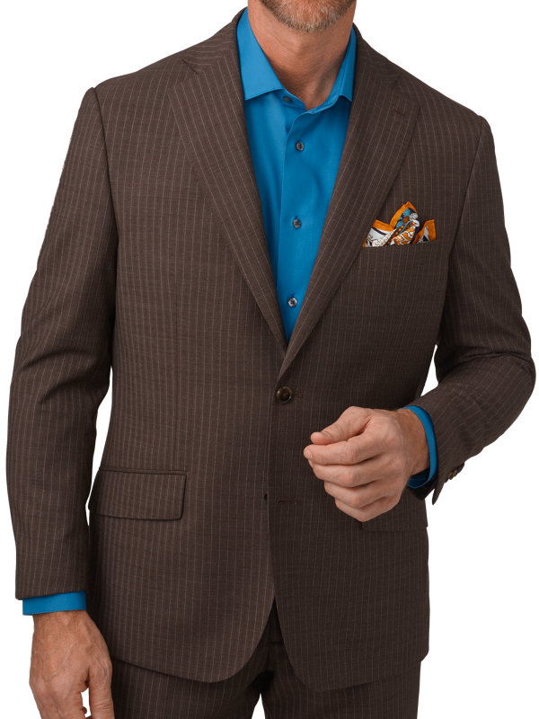 Tailored Fit Italian Wool Stripe Notch Lapel Suit Jacket