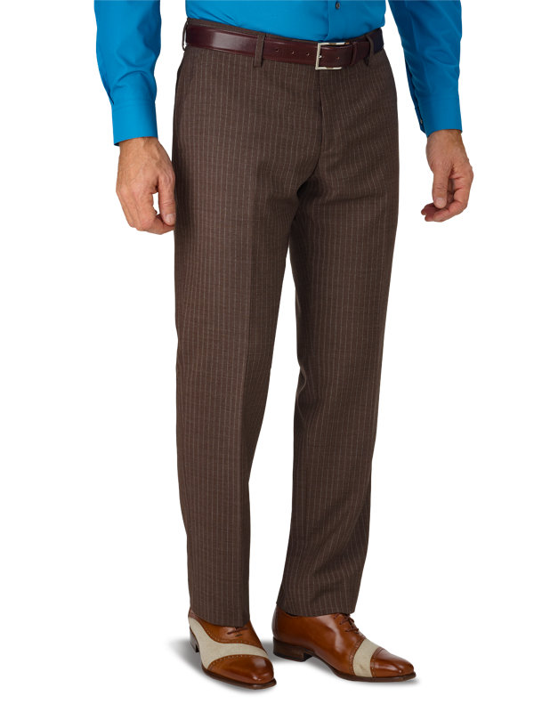 Tailored Fit Italian Wool Stripe Flat Front Suit Pant