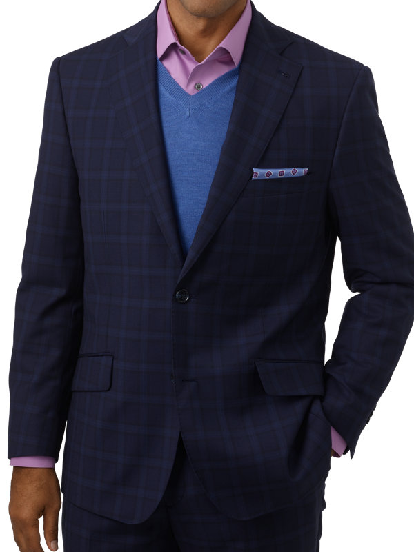 Tailored Fit Italian Wool Windowpane Notch Lapel Suit Jacket