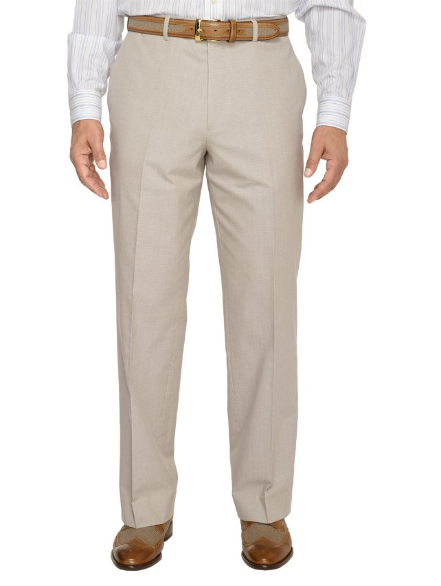 100% Cotton Textured Flat Front Pants