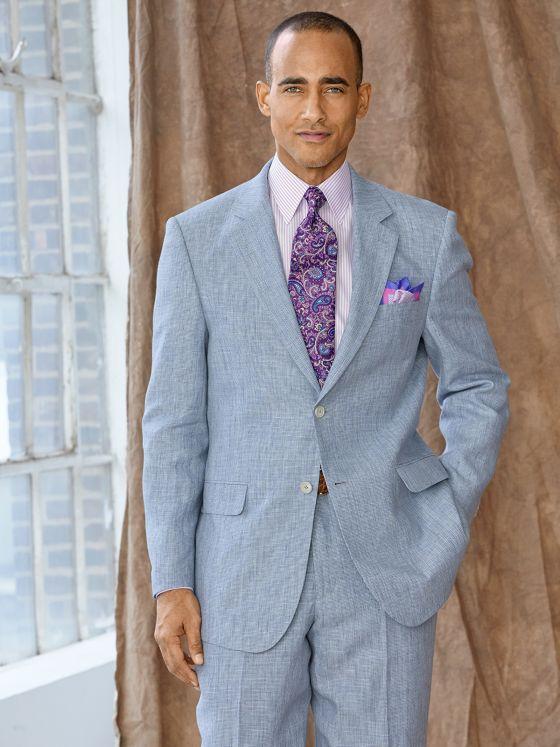 Linen Houndstooth Suit Jacket